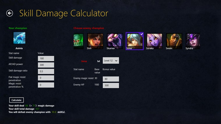 Self Mitigated Damage Calculator