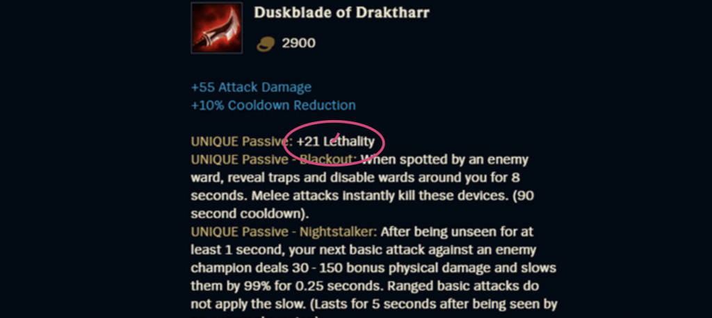 Lethality is a special effect in League of Legends which Riot released back in 2017. It's usually built on assassins and high damage carries.