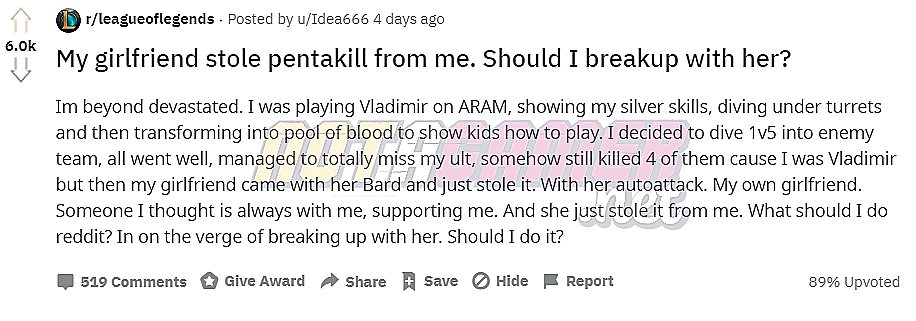 League player wants to break up with his girlfriend for stealing his Pentakill