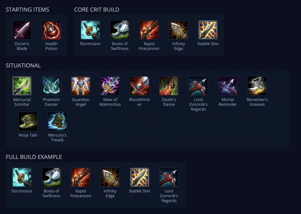 This picture represents best item build guide for Jhin on URF featured game mode in League of Legends