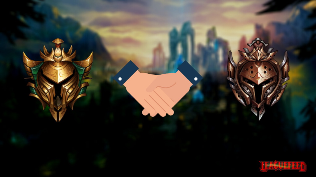 """This picture represents the icons of Gold and Bronze League of Legends rank tiers. In this section we're answering the question: """"Can gold play with bronze in duo queue?"""