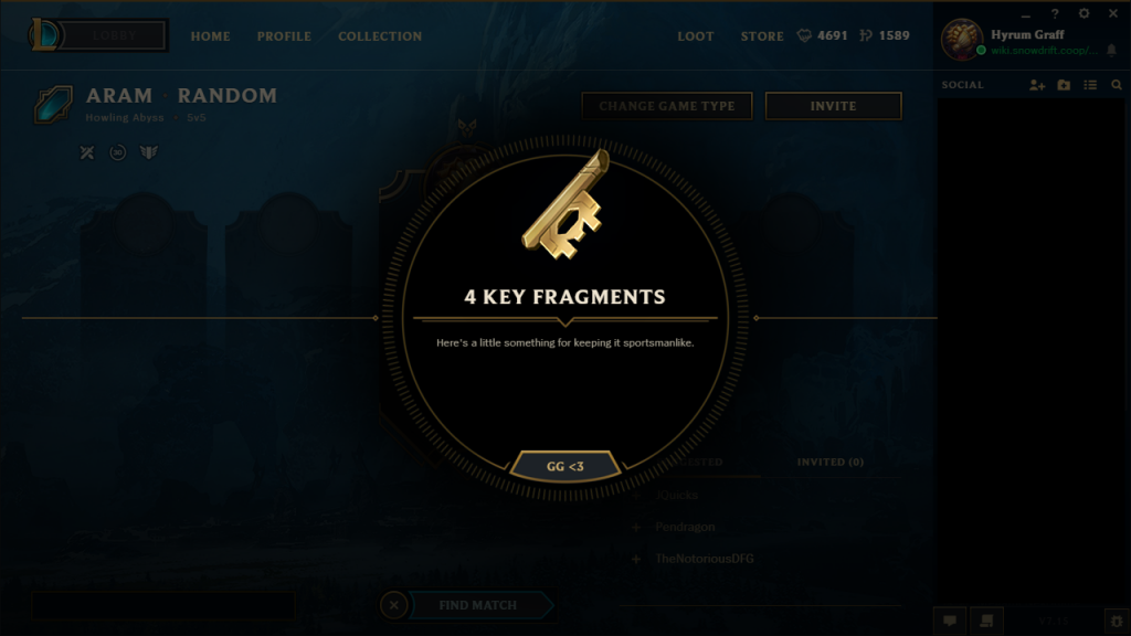 Key fragments are a small pieces of hextech keys. You will need 3 key fragments in order to forge a hextech key, and then open a hextech chest