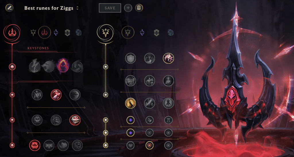 This image shows a best set of runes for Ziggs on ARAM game mode. Ziggs will deal most damage when he's using a Domination as primary set of his runes, and Precision as the second set of his runes. If you stack it right, you'll deal massive damage with Dark Harvest.