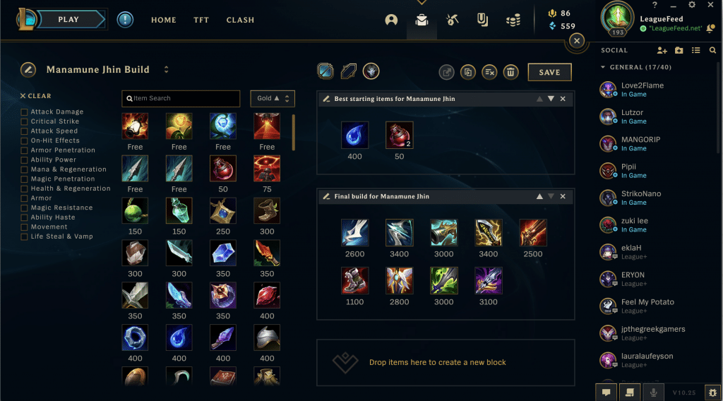Here's the list of the best possible items you can get if you choose to try out the famous Manamune Jhin build. This build is one of the most used builds on Jhin in the current meta, and we just don't see any flaws in it. We truly believe that you'll be able to carry your team to the victory if you decide to try out this build!