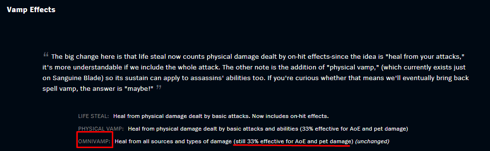 A lot of champions can benefit from a lot of omnivamp stats, but it works best on the fighters and bruisers as it helps them survive longer in the fight, which enables them to peel longer for their team.